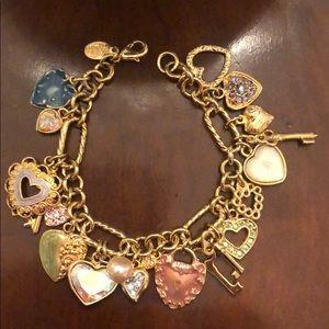 Kirks Folly Gold Tone Heart Charm Bracelet